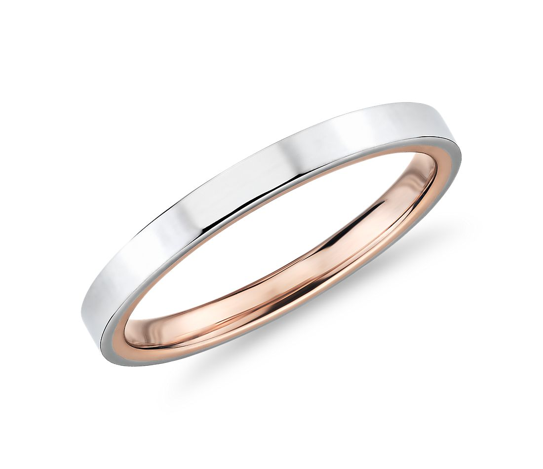 Polish Two-Tone Comfort Fit Wedding Ring in 14k White and Rose Gold (2mm)