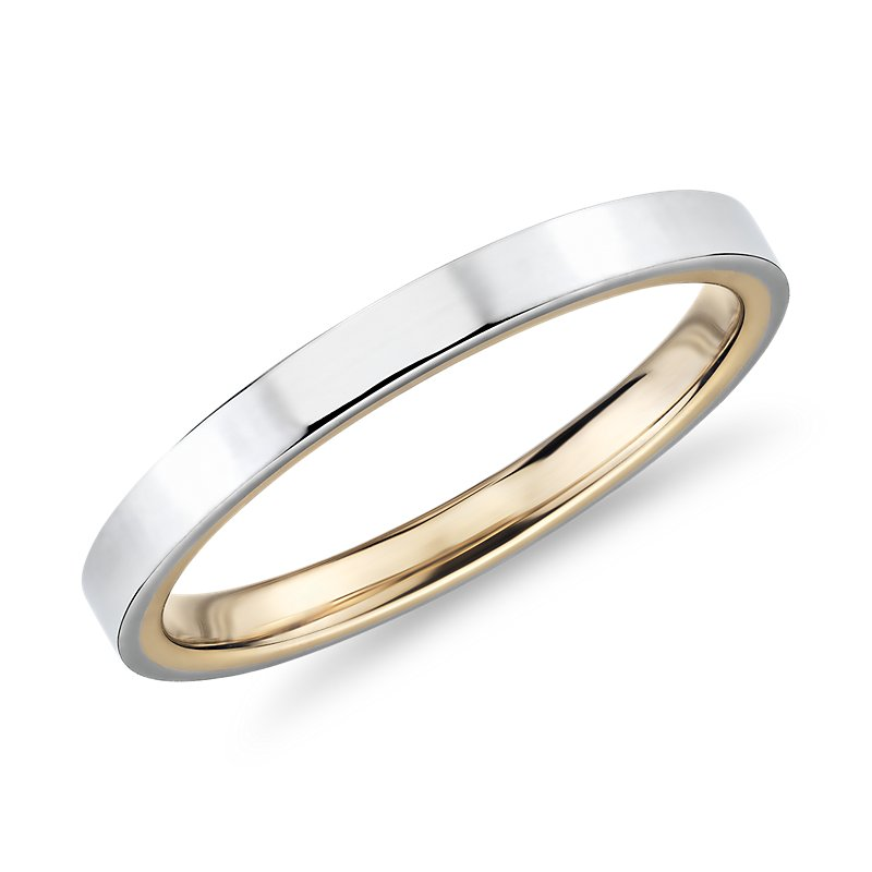 Polish Two-Tone Comfort Fit Wedding Ring in 14k White and Yellow