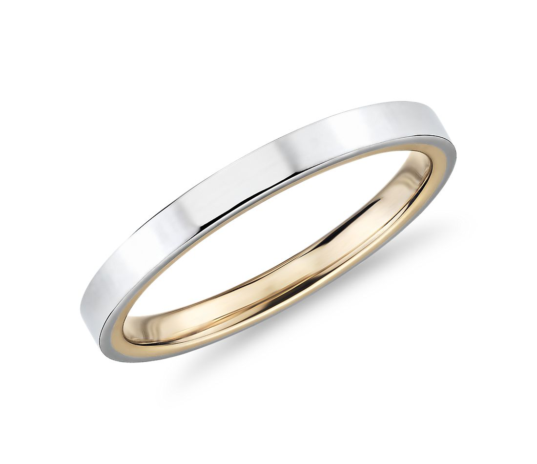Polish Two-Tone Comfort Fit Wedding Ring in 14k White and Yellow Gold (2mm)