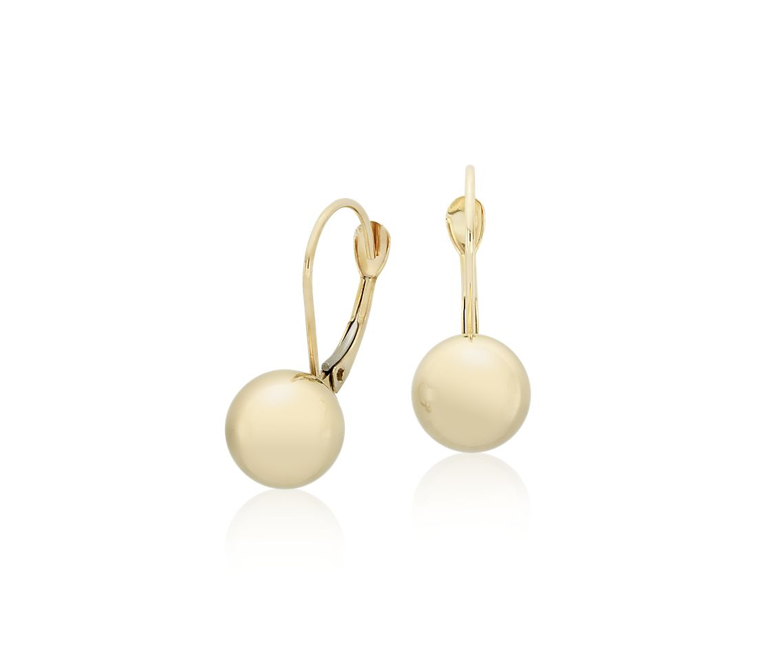 Polished Ball Drop Earrings in 14k Yellow Gold (8mm)