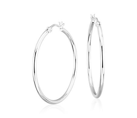 925 纯银现代抛光大圈形耳环<br>(1 1/2 英寸)