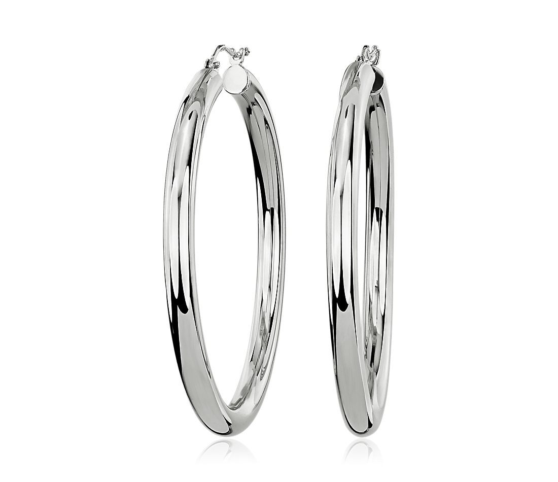 Polished Lightweight Tube Hoop in 14k White Gold (4mm)