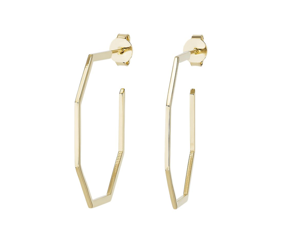 Polygon Hoop Earrings in 14k Italian Yellow Gold