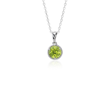 Blue Nile Peridot Birthstone Heart Pendant in Sterling Silver (August) (4.5mm)