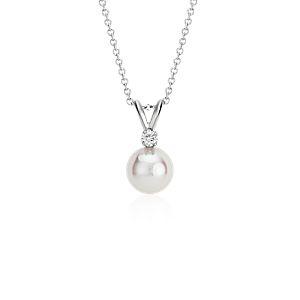 Pendentif diamant et perle de culture d'Akoya de la plus haute qualité en or blanc 18carats (8,0-8,5mm)
