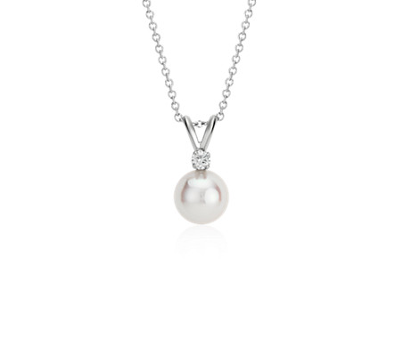Blue Nile Classic Akoya Cultured Pearl Pendant in 18k White Gold (8.0-8.5mm) 4KtKE1
