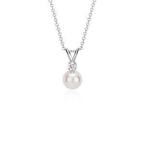 Pendentif diamant et perle de culture d'Akoya de la plus haute qualité en or blanc 18carats (7,0-7,5mm)
