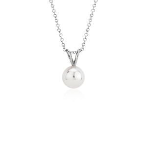 Premier Akoya Cultured Pearl Pendant in 18k White Gold (8.0-8.5mm)
