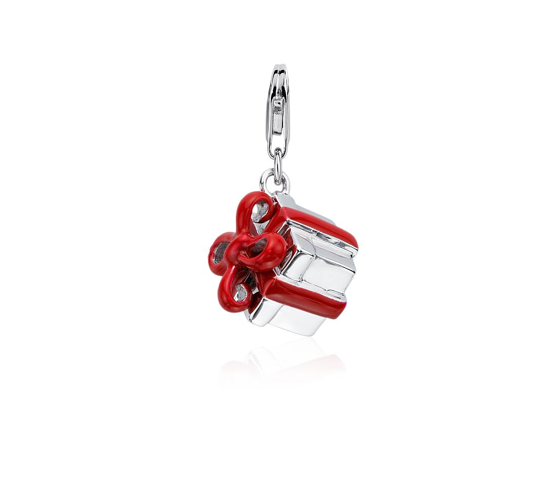 Present Box Charm in Sterling Silver