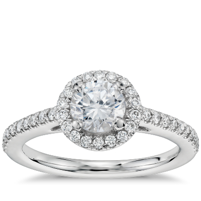 12 Carat Preset Classic Halo Diamond Engagement Ring in 14k White