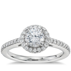 1/2 Carat Preset Classic Halo Diamond Engagement Ring in 14k White Gold