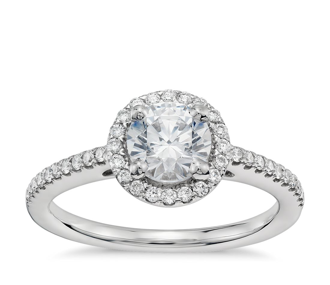 3 4 Carat Preset Classic Halo Diamond Engagement Ring in 14k White Gold