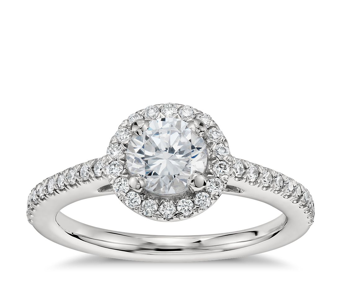 1/2 Carat Preset Classic Halo Diamond Engagement Ring in Platinum