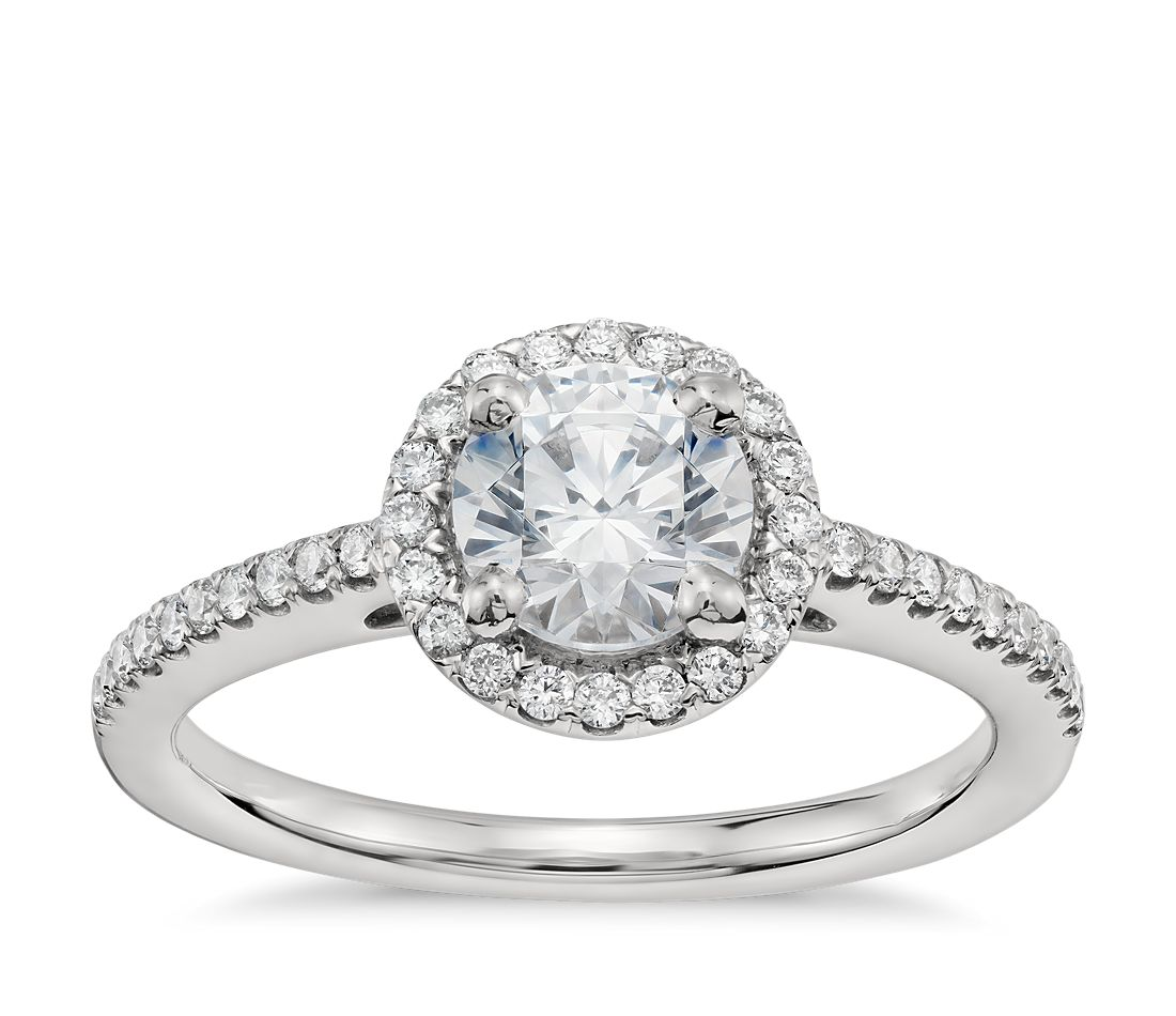 3/4 Carat Preset Classic Halo Diamond Engagement Ring in Platinum