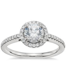 3/4 Carat Preset Classic Halo Diamond Engagement Ring in Platinum