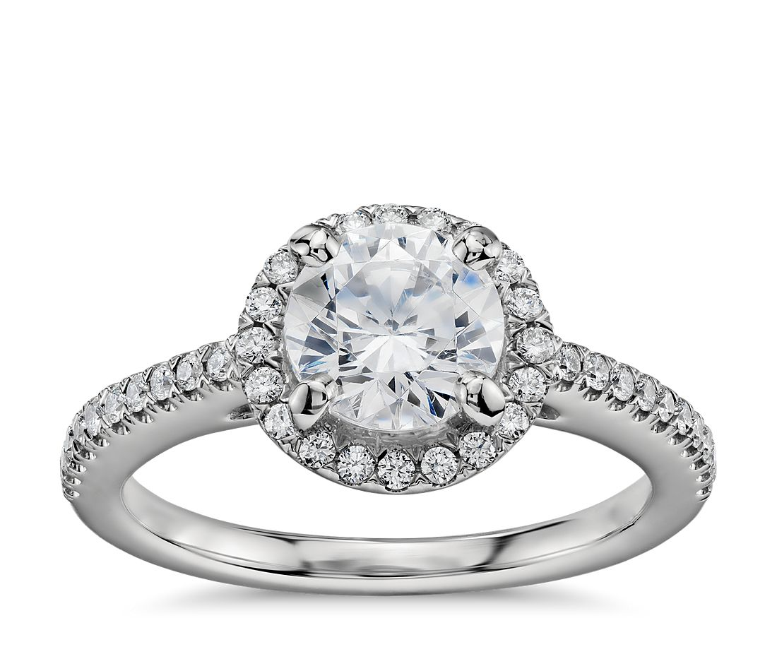 1 Carat Preset Classic Halo Diamond Engagement Ring In Platinum