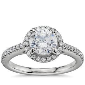 1 Carat Preset Classic Halo Diamond Engagement Ring in Platinum
