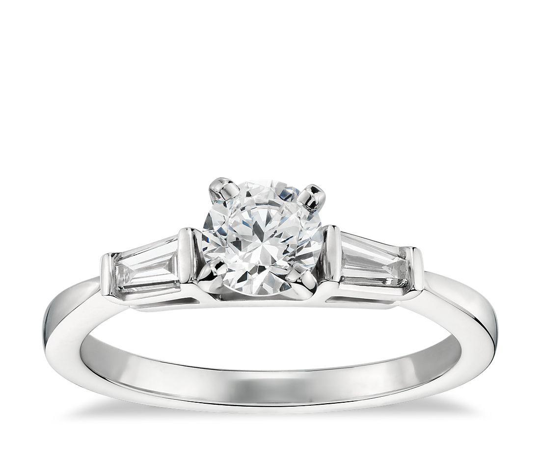 1/2 Carat Preset Tapered Baguette Diamond Engagement Ring in 14k White Gold