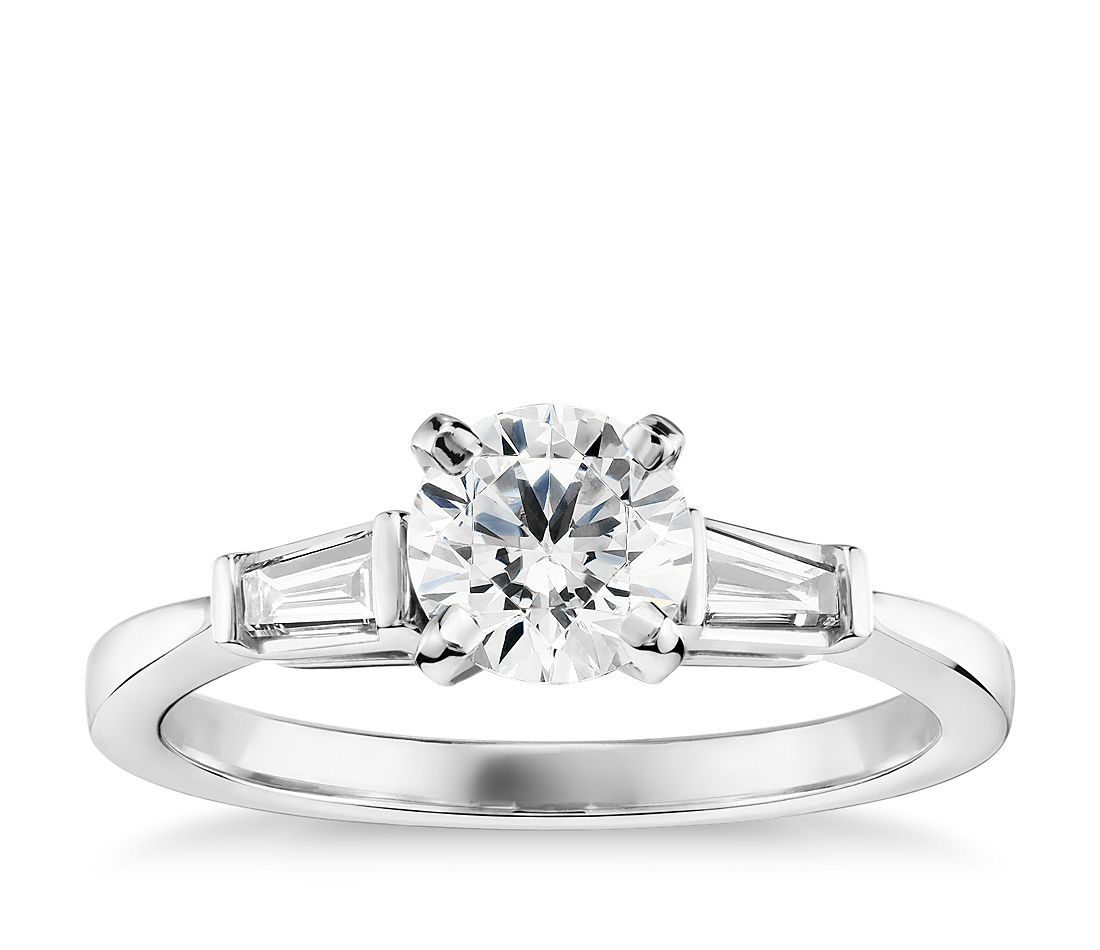 3/4 Carat Preset Tapered Baguette Diamond Engagement Ring in 14k White Gold