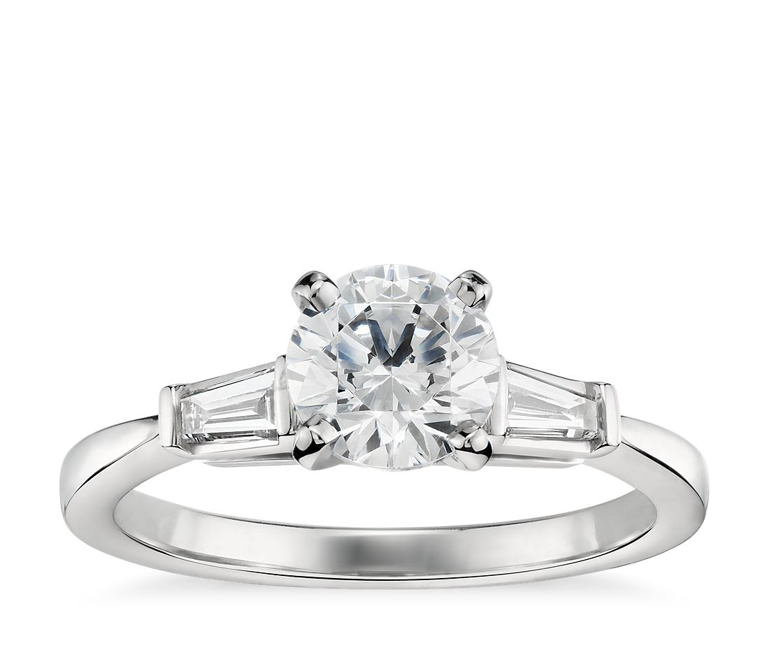 1 Carat Preset Tapered Baguette Diamond Engagement Ring in 14k White Gold