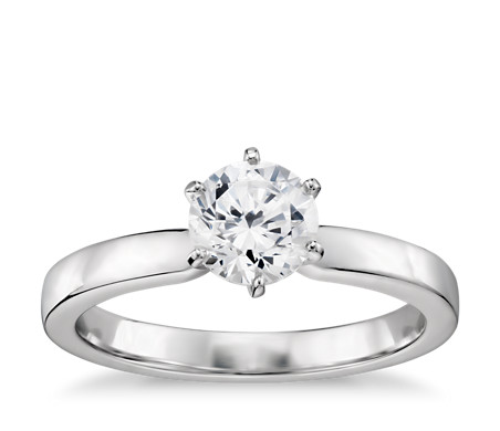 1/2 Carat Preset Six-Claw Low Dome Comfort Fit Solitaire Engagement Ring in 14k White Gold (2.5mm)