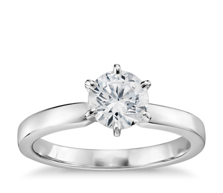 3/4 Carat Preset Six-Claw Low Dome Comfort Fit Solitaire Engagement Ring in 14k White Gold (2mm)