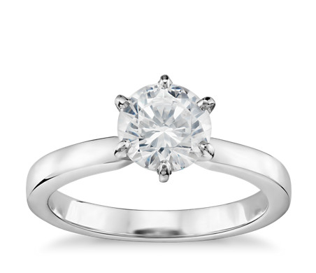 1 Carat Preset Six-Claw Low Dome Comfort Fit Solitaire Engagement Ring in 14k White Gold (2mm)