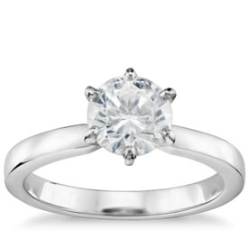 1 Carat Preset Six-Prong Low Dome Comfort Fit Solitaire Engagement Ring in 14k White Gold (2.5mm)