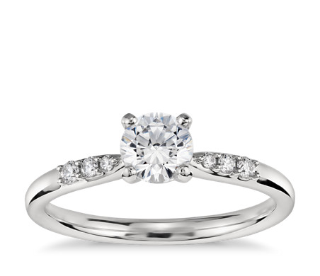 1/2 Carat Preset Petite Diamond Engagement Ring in Platinum