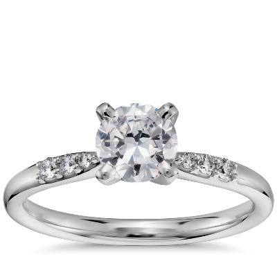 34 Carat Preset Petite Diamond Engagement Ring in Platinum Blue Nile