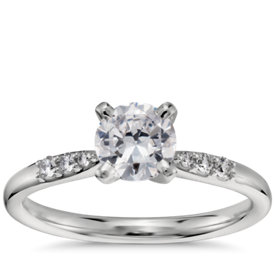 3/4 Carat Preset Petite Diamond Engagement Ring in Platinum