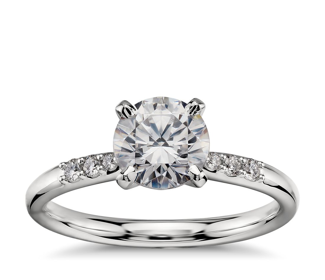 1 Carat Preset Petite Diamond Engagement Ring in Platinum