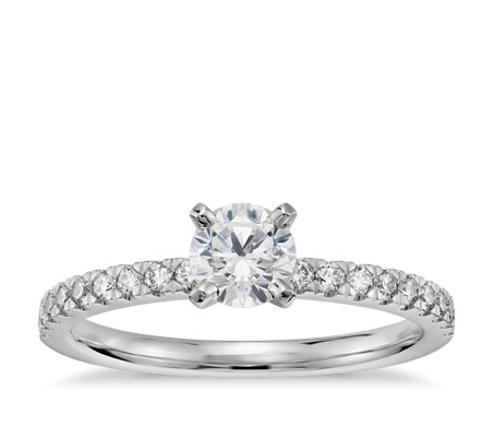 1/2 Carat Preset Petite Pavé Diamond Engagement Ring in Platinum
