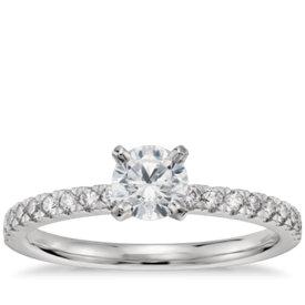 Bague de fiançailles en diamants sertis pavé de petite taille pré-sertie 1/2carat en platine