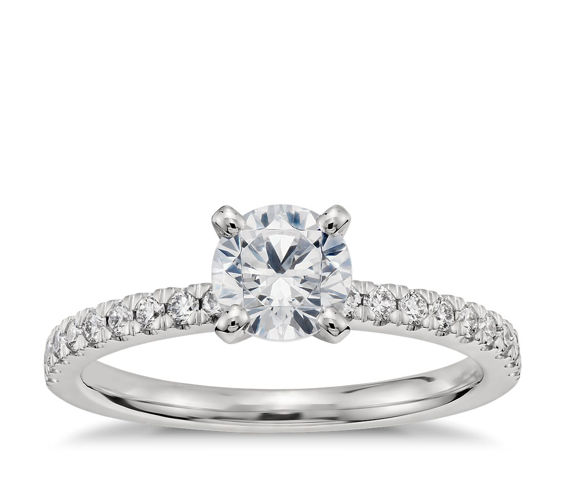 3/4 Carat Preset Petite Pavé Diamond Engagement Ring in Platinum