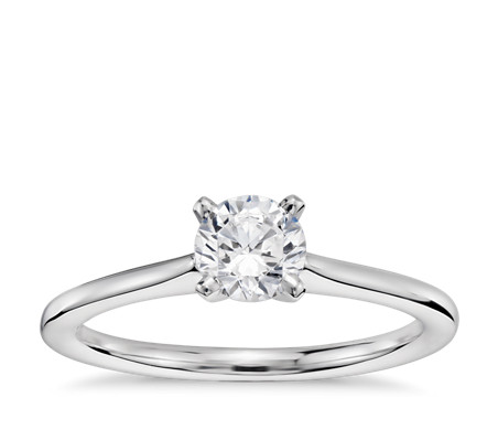 1/3 Carat Preset Petite Solitaire Engagement Ring in 14k White Gold