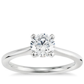 3/4 Carat Preset Petite Solitaire Engagement Ring in 14k White Gold