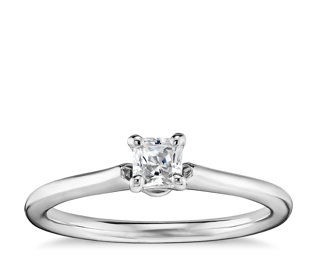 1/3 Carat Preset Princess-Cut Petite Solitaire Engagement Ring in 14k White Gold