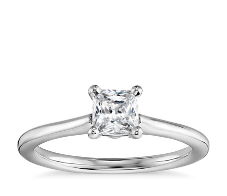 1/2 Carat Preset Princess-Cut Petite Solitaire Engagement Ring in 14k White Gold