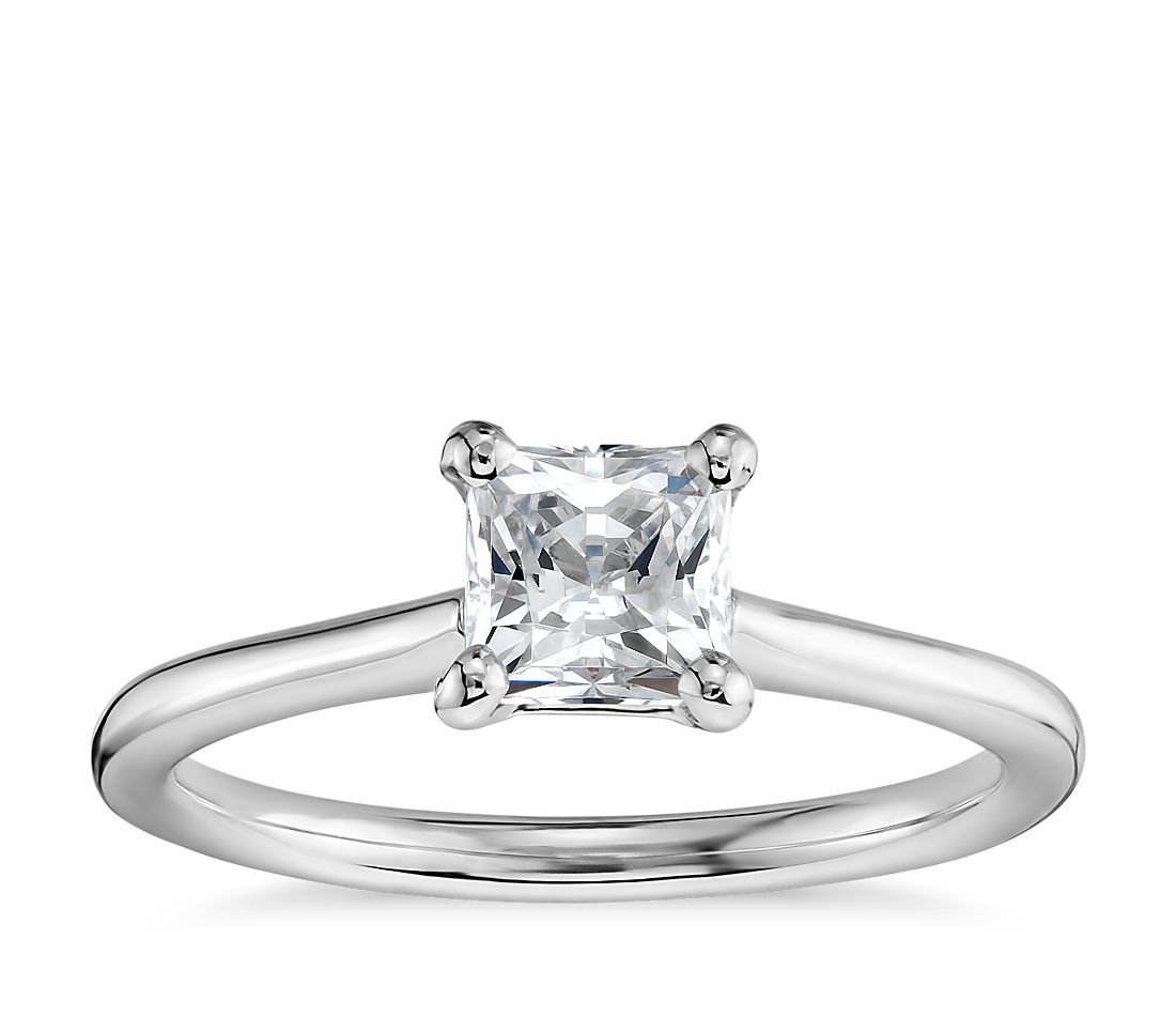 3/4 Carat Preset Princess-Cut Petite Solitaire Engagement Ring in 14k White Gold