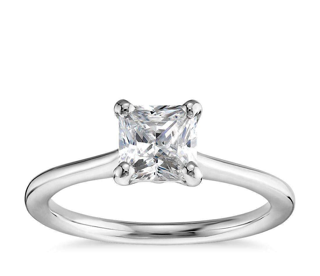 1 Carat Preset Princess-Cut Petite Solitaire Engagement Ring in 14k White Gold