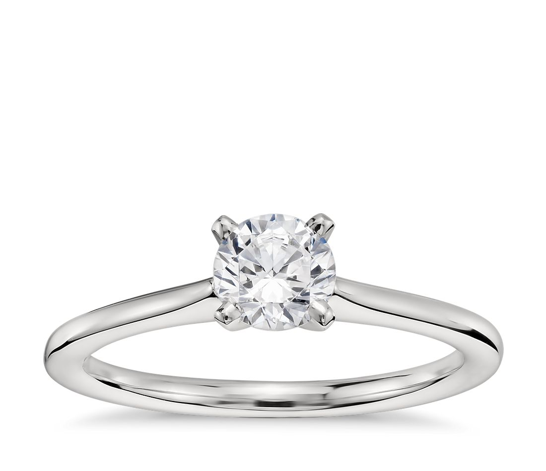 1/2 Carat Preset Petite Solitaire Engagement Ring in Platinum