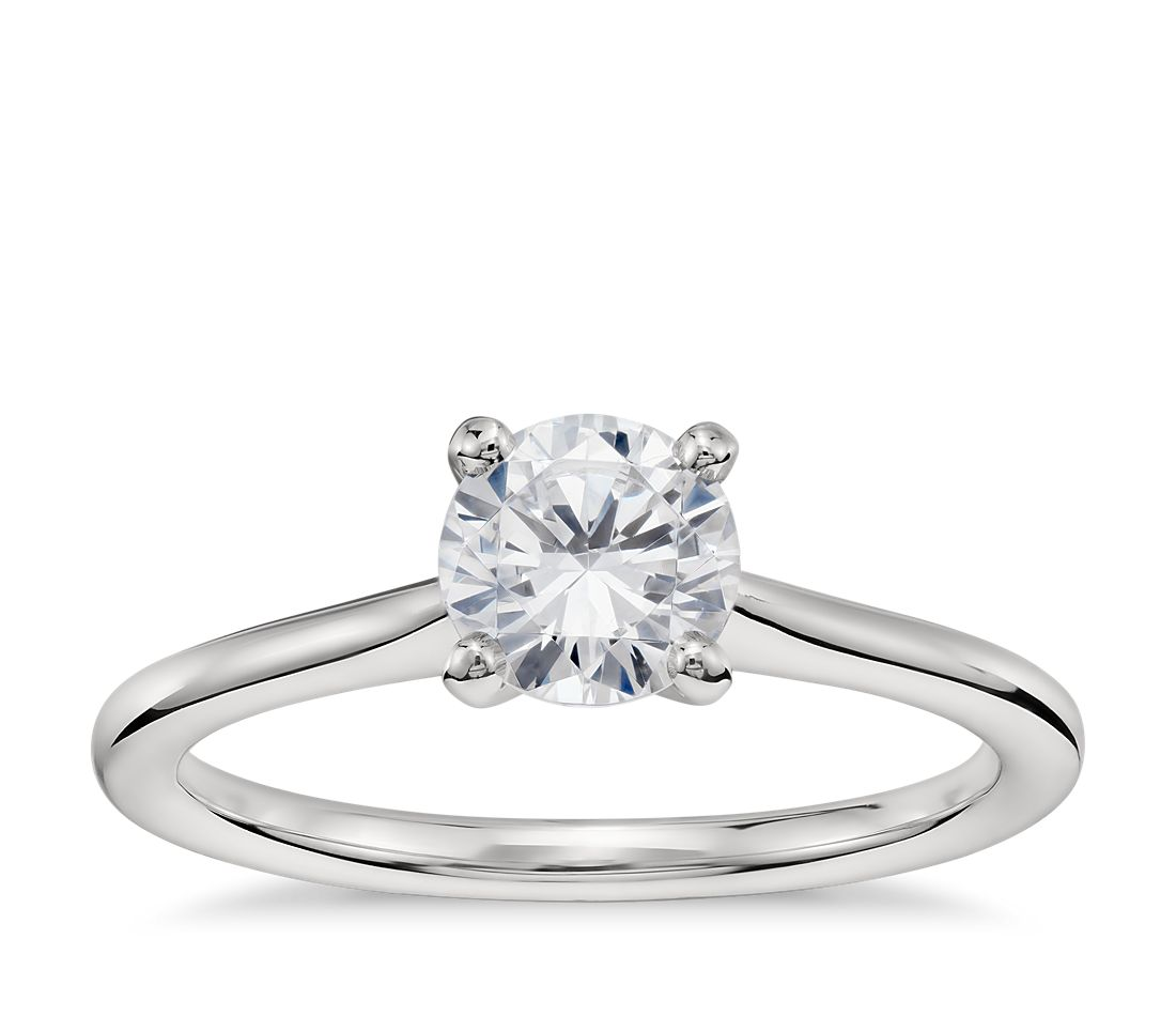 3/4 Carat Preset Petite Solitaire Engagement Ring in Platinum
