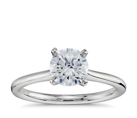 1 Carat Preset Petite Solitaire Engagement Ring in Platinum