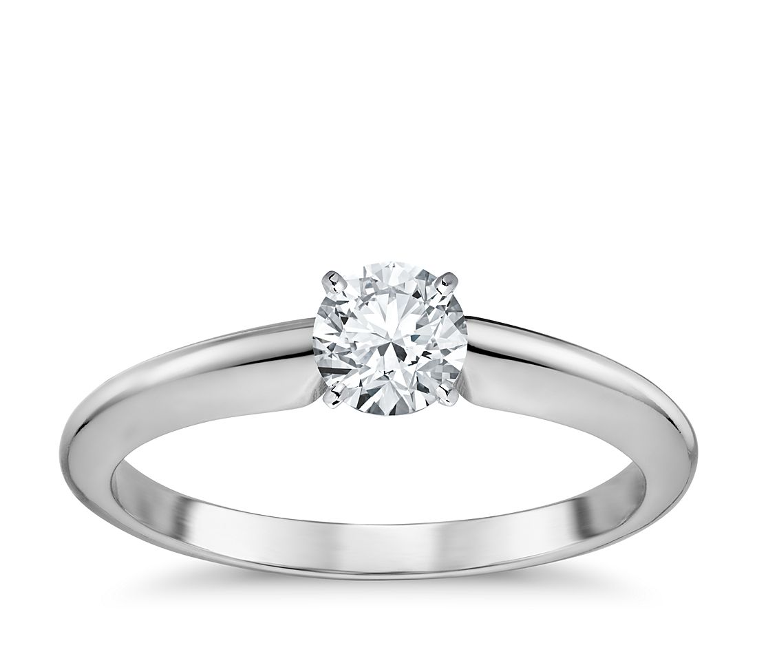 1/2 Carat Preset Classic Four Prong Engagement Ring in 18k White Gold