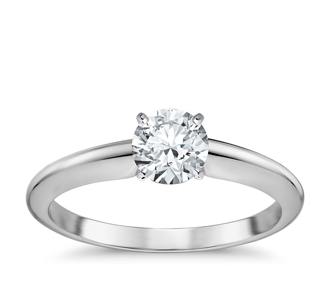 3/4 Carat Preset Classic Four Prong Engagement Ring in 18k White Gold