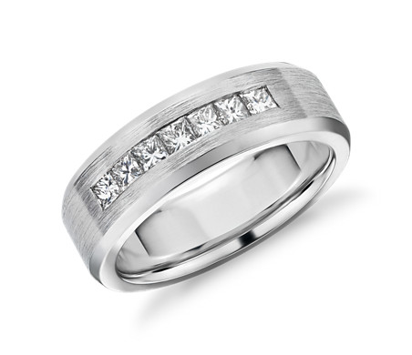 Princess Cut Channel Set Diamond Wedding Band In 14k White Gold 1 2 Ct Tw