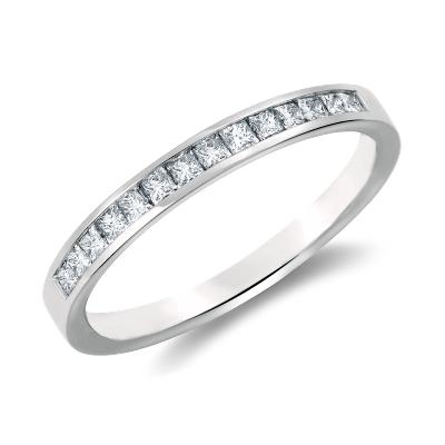 Channel Set Princess Cut Diamond Ring in 14k White Gold 13 ct