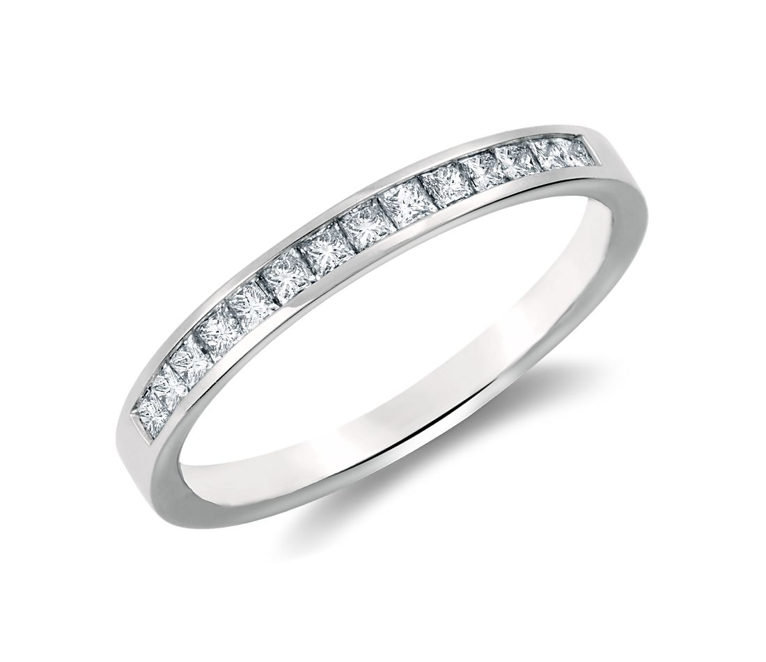 White Gold Bands: Channel Set Princess Cut Diamond Ring In 14k White Gold (1