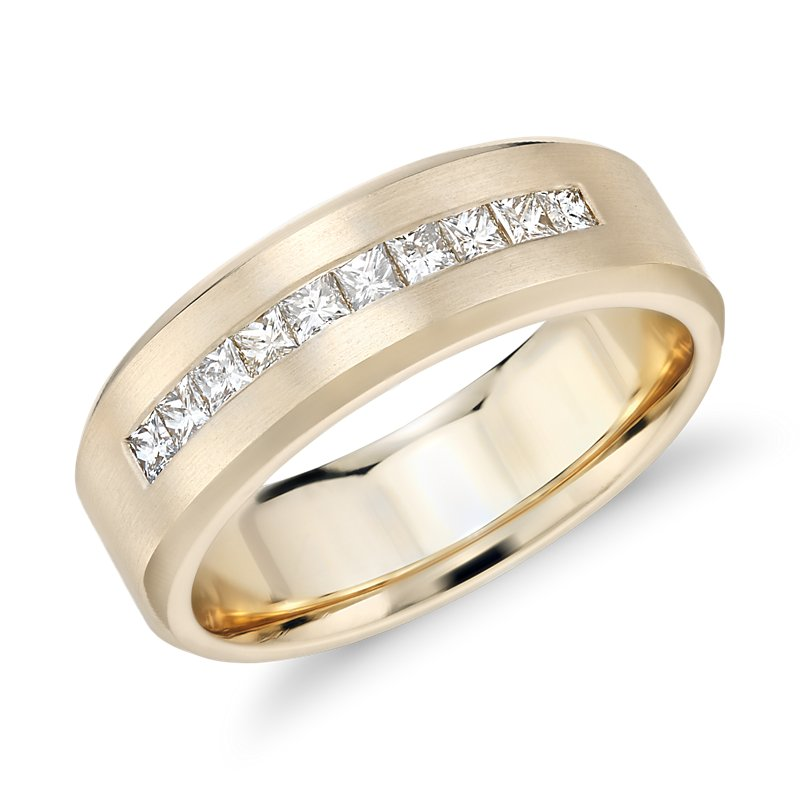 Princess-Cut Channel-Set Diamond Wedding Ring in 14k Yellow Gold